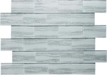 Load image into Gallery viewer, White Wood Effect Glass Subway Tile 75x150mm (MT0182)