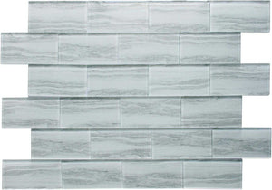 White Wood Effect Glass Subway Tile 75x150mm (MT0182)