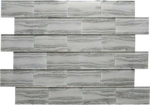 Grey Wood Effect Glass Subway Tile 75x150mm (MT0184)