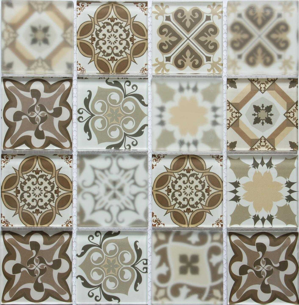 Brown Patterned Glass Mosaic Tiles Mt0181