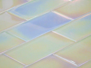 Lustrous Pearl White Iridescent Glass Subway Tile 75x150mm (MT0177)