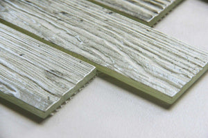 Grey Wood Effect Glazed Glass Mosaic Tile (MT0187)