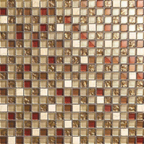 Brown & Beige Glass & Stone Mosaic Tiles Sheet (MT0065)