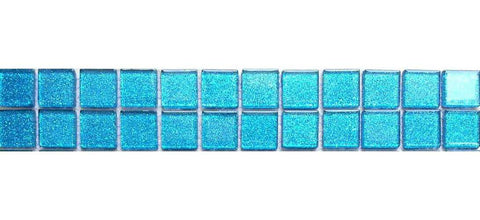 Turquoise Blue Glitter Mosaic Bathroom Tile Border | Grand Taps