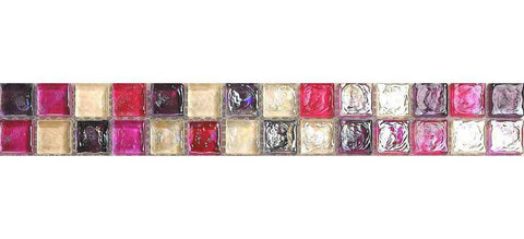 Hammered Pearl Pink Red Glass Mosaic Tiles Strip | Grand Taps