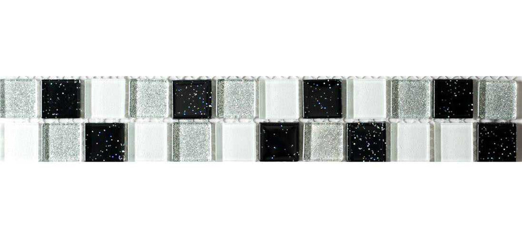 Black Silver Glitter Tile Border | Glitter Tile Strip | Grand Taps