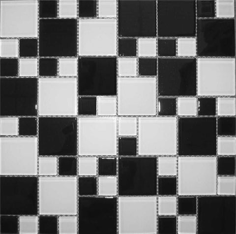 Plain Black & White Modular Mix Glass Mosaic Tiles Sheet (MT0049)
