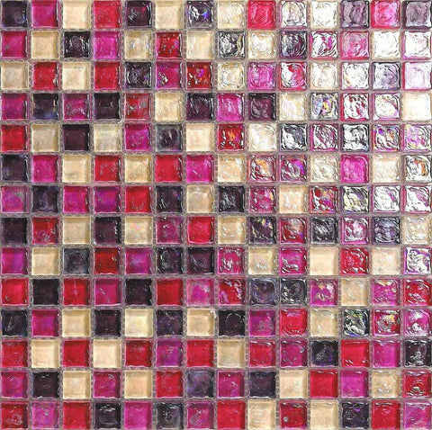 Hammered Pearl Pink Red Glass Mosaic Tiles Sheet (MT0027)