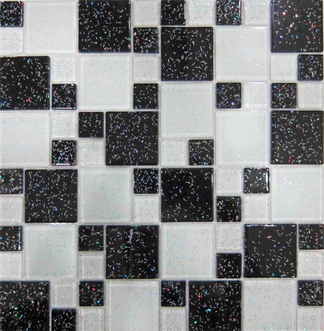 Black & White Glitter Modular Mix Glass Mosaic Tiles Sheet (MT0047)