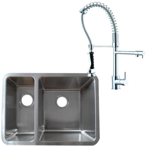 616 x 461mm Brushed Undermount 1.5 Bowl Stainless Steel Kitchen Sink & Pro 2-Spouts Kitchen Mixer Tap  (KST124 R)