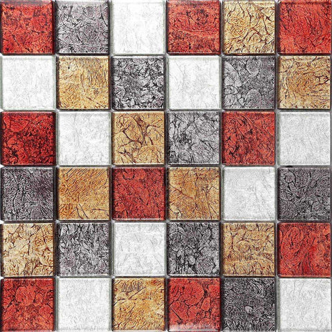 Autumn Hong Kong Foil Mix Glass Mosaic Tiles Sheet (MT0072)
