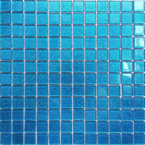 Blue Glitter Mosaic Tiles | Turquoise Mosaic Bathroom Tiles | Grand Taps