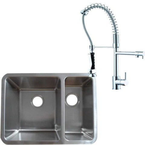 616 x 461mm Brushed Undermount 1.5 Bowl Stainless Steel Kitchen Sink & Pro 2-Spouts Kitchen Mixer Tap  (KST124 L)
