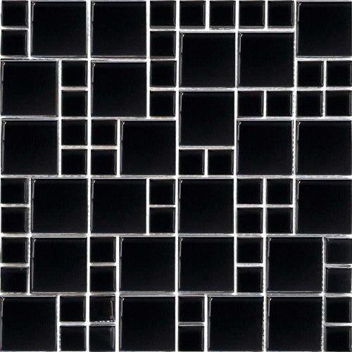 Black Gloss Modular Mosaic Kitchen Splashback Bathroom Tiles | Grand Taps