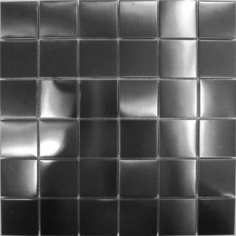 Brushed Black Metallic Stainless Steel Bathroom Kitchen Mosaic Tiles Sheet (MT0003)
