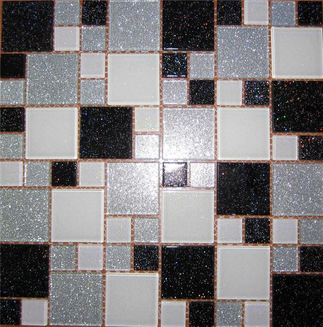 Silver Glitter Kitchen Tiles | Black Glitter Bathroom Tiles | Grand Taps