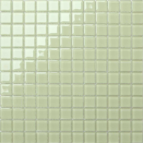 Plain Light Green Glass Mosaic Tiles Sheet (MT0021)
