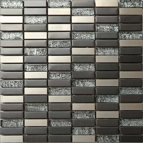 Black & Silver Brushed Stainless Steel & Asian Pattern Glass Mosaic Tiles Sheet (MT0102)