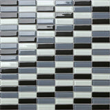 Black Grey White Glass Mosaic Tiles Sheet (MT0015)