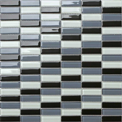 Black Grey White Glass Mosaic Bathroom Kitchen Tiles | Grand Taps
