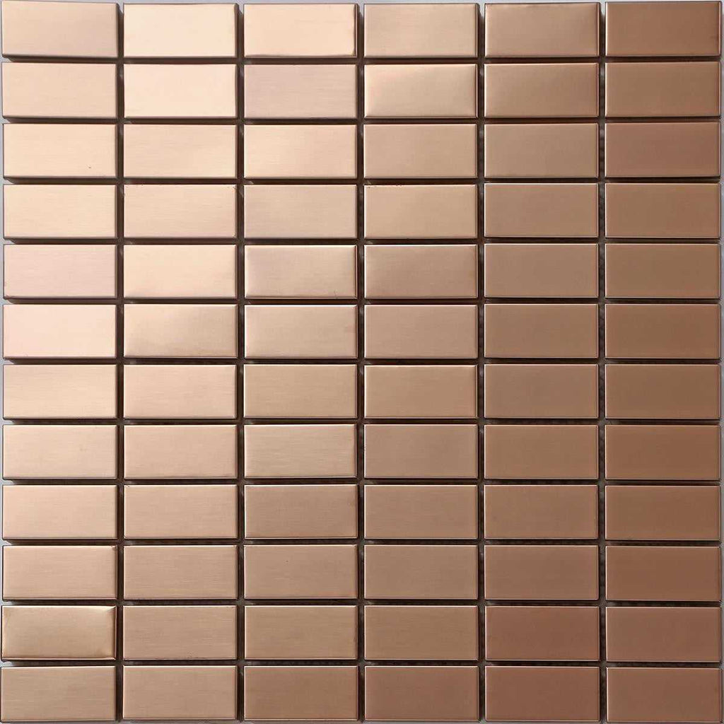 Sample Of Copper Effect Stainless Steel Mosaic Wall Tiles Sheet Mt0105