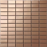 Sample of Copper Effect Stainless Steel Mosaic Wall Tiles Sheet (MT0105)