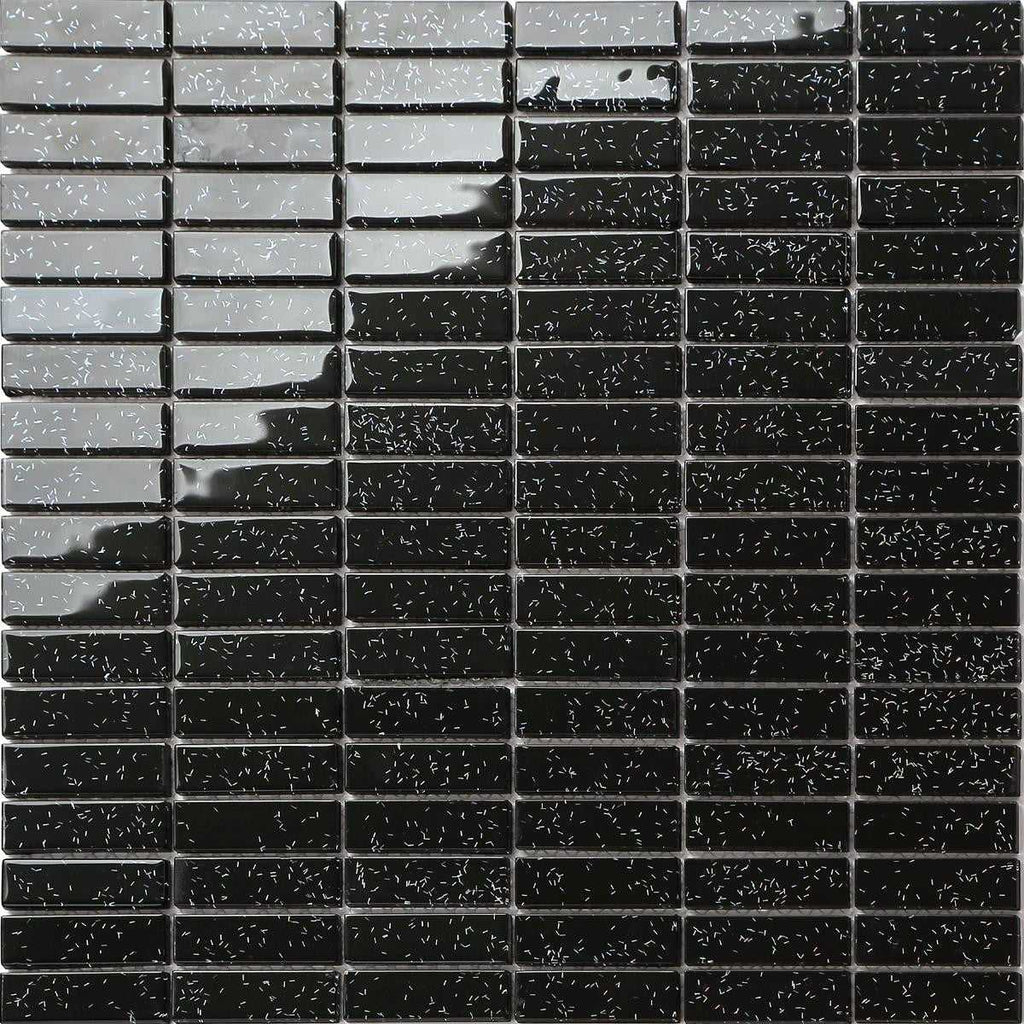 Black Glass Mosaic Glitter Tiles Sheet Mt0010 Grand