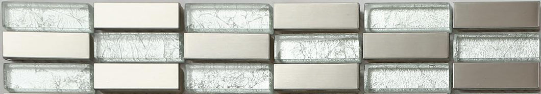 Glass & Brushed Silver Steel Brick Mosaic Tile Border | Grand Taps