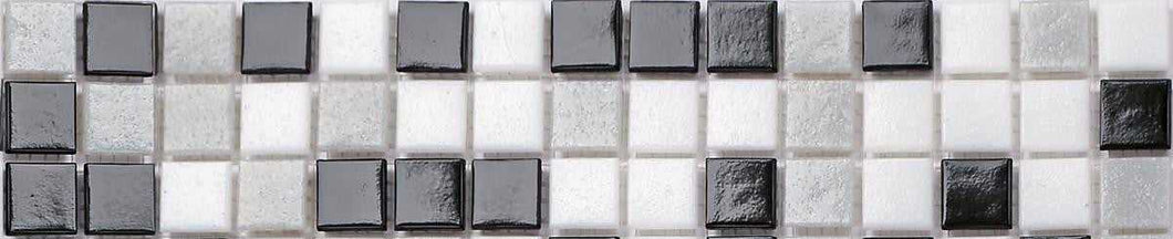 Black, Grey & White Vitreous Glass Mosaic Tile Strip (MB0107)