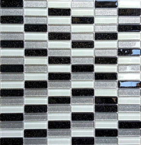 Glitter Black Silver Mosaic Kitchen Splashback Bathroom Tiles | Grand Taps