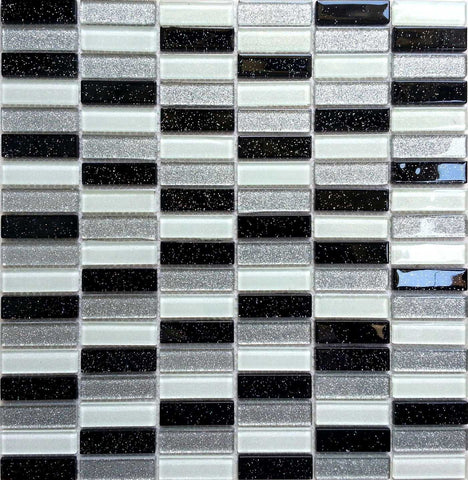 Black White & Silver Glass Mosaic Tiles Sheet (MT0028)