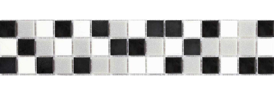 Black, Grey & White Vitreous Glass Mosaic Tile Strip (MB0059)