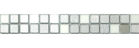 Silver Mirror Frosted Glitter Mix Glass Mosaic Tiles Strip (MB0046)
