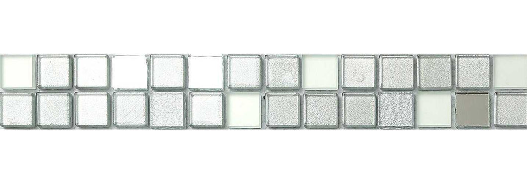 Silver Frosted, Mirror & Glitter Mix Glass Mosaic Tile Strip (MB0046)