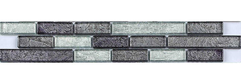 Grey Silver Brick Tile Border | Silver Bathroom Tile Border | Grand Taps