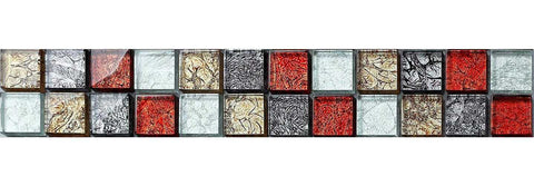Red Gold Grey Glass Mosaic Tiles Strip | Grand Taps