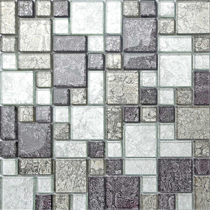 Black & Silver Foil Glass Modular Mix Mosaic Tiles (MT0044)