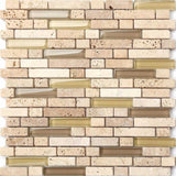 Natural Earth Colours Glass And Stone Brick Shape Mosaic Tiles Sheet (MT0133)