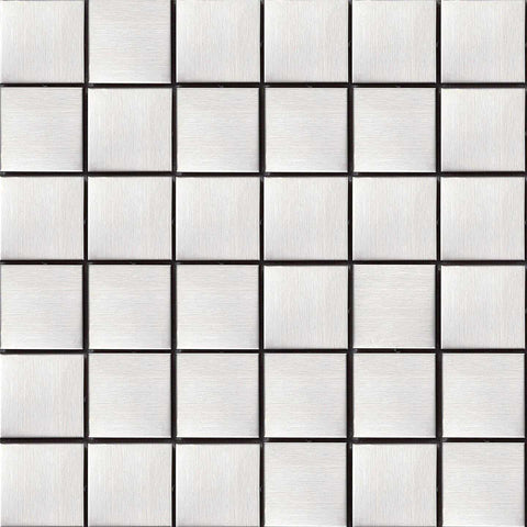 Brushed Silver Stainless Steel Mosaic Tiles Sheet (MT0035)