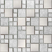 Load image into Gallery viewer, Silver Brushed Stainless Steel Modular Mix Mosaic Tiles | Grand Taps