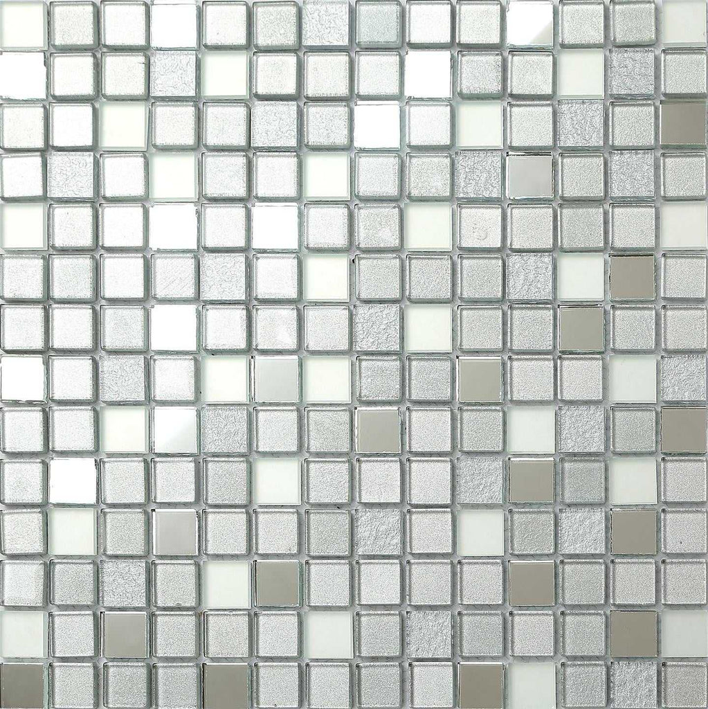 Silver Mirror Frosted Glitter Mix Glass Mosaic Tiles Sheet