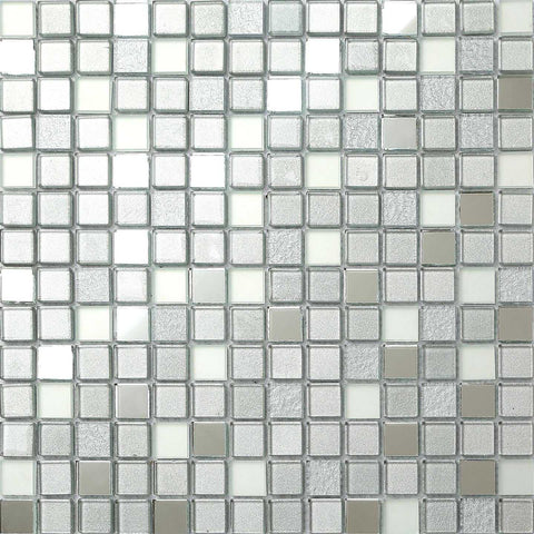 Silver Mirror Frosted Glitter Mix Glass Mosaic Tiles Sheet (MT0046)