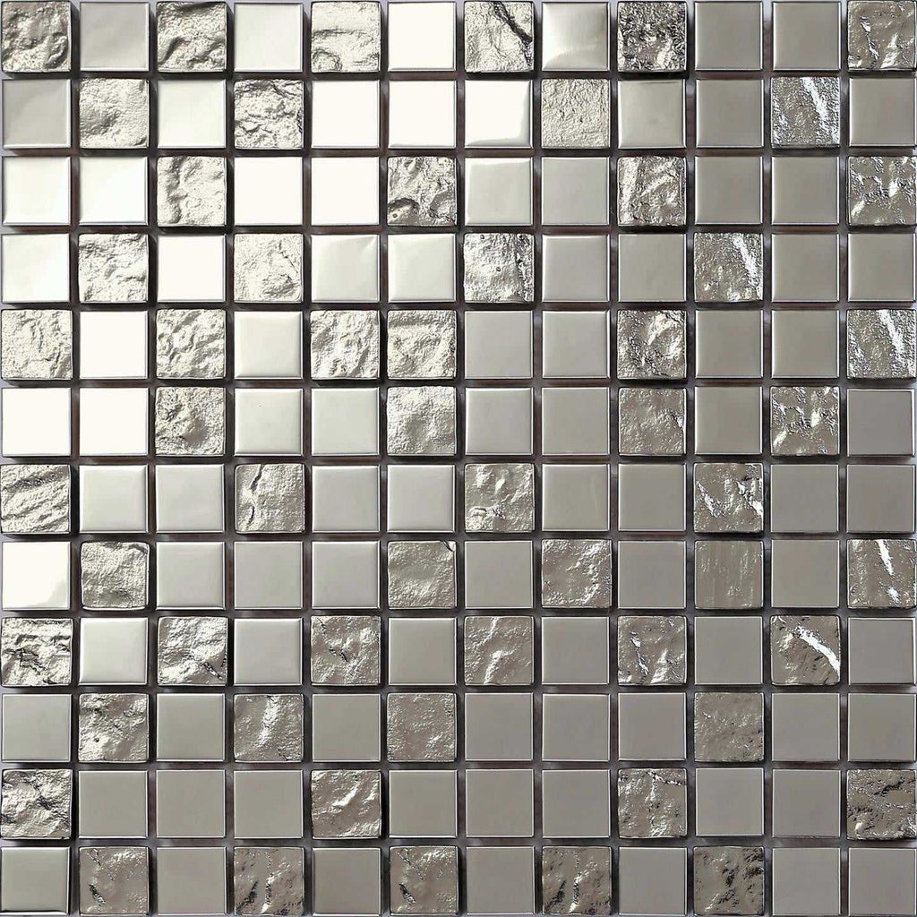 Polished Stainless Steel And Textured Silver Glass Mosaic
