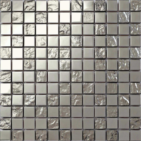 Polished Stainless Steel and Textured Silver Glass Mosaic Tiles Bathroom Shower Kitchen (MT0129)