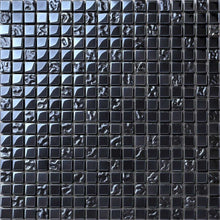Load image into Gallery viewer, Sample of Lustrous Pearl Black Iridescent Glass Mosaic Tiles Sheet (MT0098)