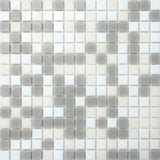 Sample of Grey & White Vitreous Glass Mosaic Tiles Sheet (MT0086)