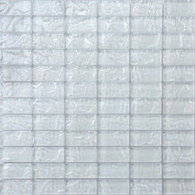 Load image into Gallery viewer, Sample of White Textured Lava Glass Brick Mosaic Tiles Sheet (MT0118)