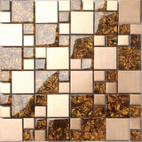 Sleek Amber Glass & Brushed Copper Effect Stainless Steel Mosaic Tiles Sheet (MT0087)