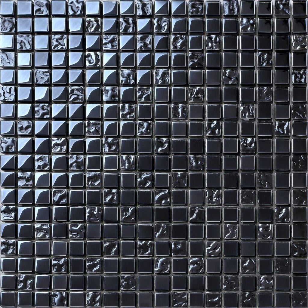 Lustrous Pearl Black Iridescent Glass Mosaic Tiles Mt0098