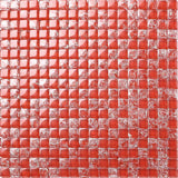 Red Crackled and Plain Glass Mosaic Tiles Sheet (MT0084)
